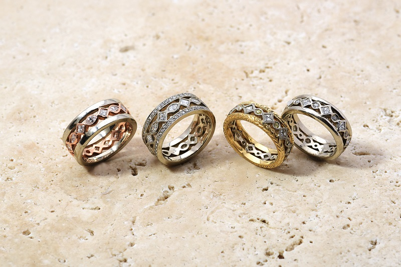 Platinum Deco Style Ring with Milgrain | Rose Gold Love Eternity Band | Yellow Gold Mixed Metal