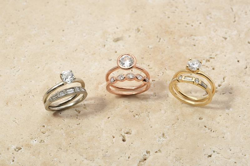 Engagement Wedding Ring Set | Rose, White, Yellow Gold