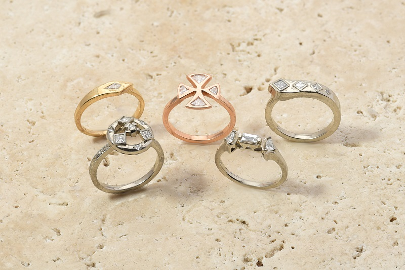 Custom Rings Princess Diamond, Kyte Diamond, Triangle Diamond, Fan Diamond White Gold Rose Gold Yellow Gold
