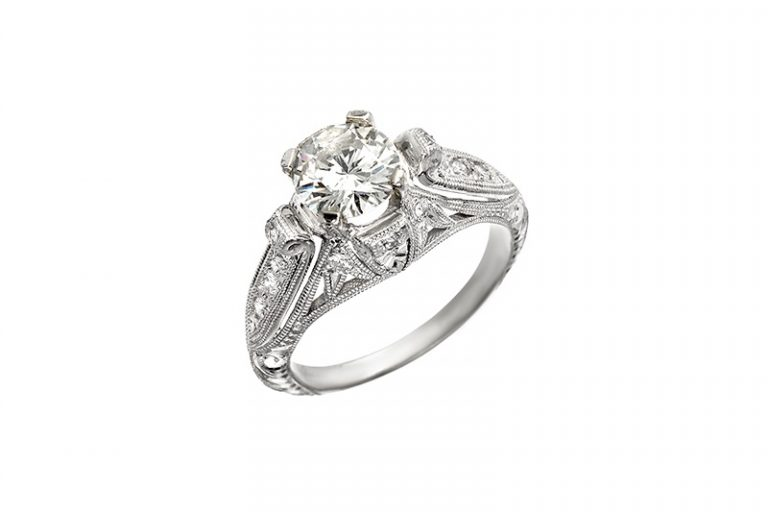 Custom 14K Gold Engagement ring for couples looking to get married and have a meaningful and joyful wedding.