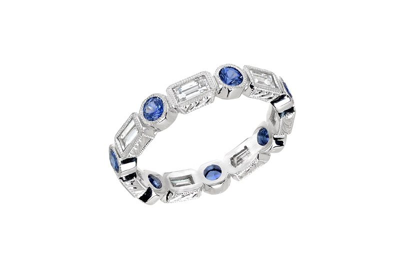 Diamond Sappire Eternity White Gold-ss
